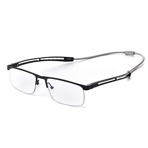 KLESIA 磁石で カチッと 掛け外しできる ブルーライトカット 老眼鏡 (度数:1.5, 遠近両用)