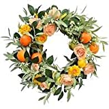 26 Inch Summer Wreath for Front Door - Gift Box Included - Handcrafted Rattan Base - for Summer