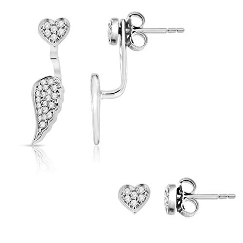 NATALIA DRAKE 1/4 Cttw Diamond Angel Wing and Heart Stud Earrings for Women in Rhodium Plated Sterling Silver (Color H-I/Clarity I1-I2) Idaho