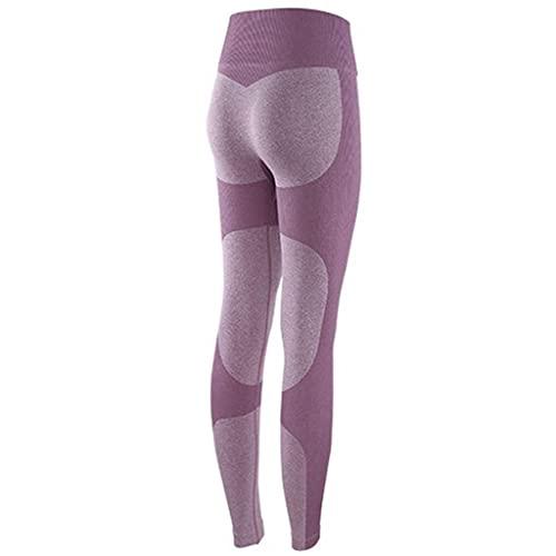 YUDIZWS Leggings para yoga, pantalones de cintura alta, levantamiento de glúteos, botín, control de barriga, deportes, con textura, sexy, para gimnasio, (color: morado, tamaño: pequeño)
