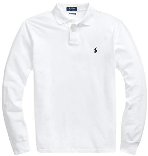 Polo Ralph Lauren Men's Long Sleeve Mesh Polo Shirt (M, White)