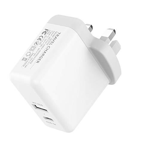 Rayber PD PD30Wtype-c+5V2.4A - Cabezal de carga rápida plegable para teléfono móvil (2 puertos), color blanco