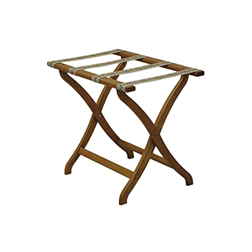 Wooden Mallet Designer Curve Leg Luggage Rack,Tapestry Straps, Medium Oak
