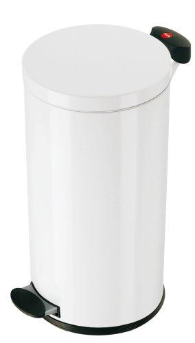 Hailo 0522-340 Tret-Abfallsammler/Trento 20 / Fassungsvermögen 20 Liter/Gehäuse und Deckel Stahlblech weiß/Inneneimer verzinkt