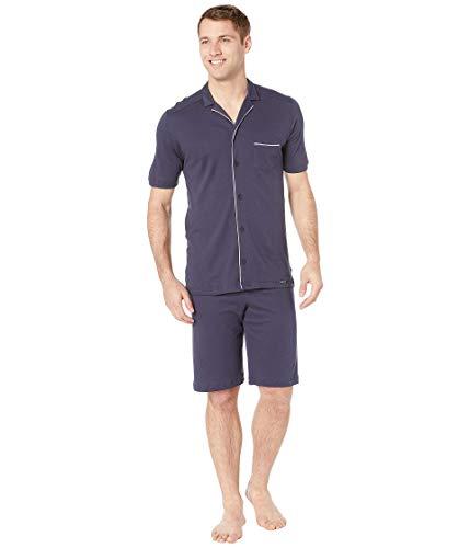 Hanro Herren Night & Day Pyjama 1/2 Arm Zweiteiliger Schlafanzug, Blau (Black iris 0496), Large (Herstellergröße:L)