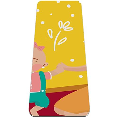 Colchoneta de Yoga Esterilla Yoga Material medioambiental TPE,Madre bebé jugando pelota ,Espesor:6milímetros,8milímetros,Tapete de Deporte Grande y Antideslizante,Correas y Mochilas como Regalos