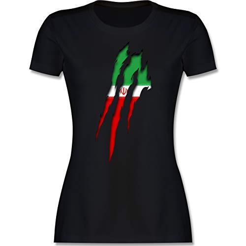 Fußball-Europameisterschaft 2021 - Iran Krallenspuren - L - Schwarz - t Shirt Iran - L191 - Tailliertes Tshirt für Damen und Frauen T-Shirt