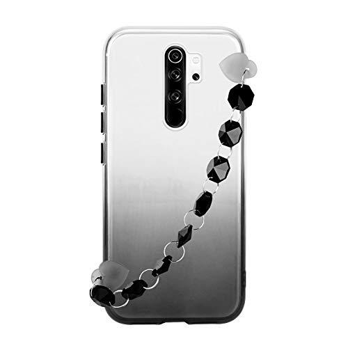Miagon Armband Kette Hülle Xiaomi Redmi Note 8 Pro,Gradient Handyhülle Weich Silikon Klar Slim Stoßfestr Schutzhülle Ultra Dünn Bumper für Xiaomi Redmi Note 8 Pro,Schwarz