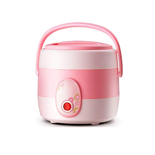 NXYJD 304 Stainless Steel Electric Lunch Box Heating Insulation Lunch Box Pink Two Layers