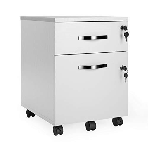 VASAGLE Rollcontainer, abschließbar, Aktenschrank mit 2 Schubladen, 5 Rollen und verstellbarer Hängeregistratur, für Dokumente im A4- und Letter-Format, Home Office, weiß LCD22WV1
