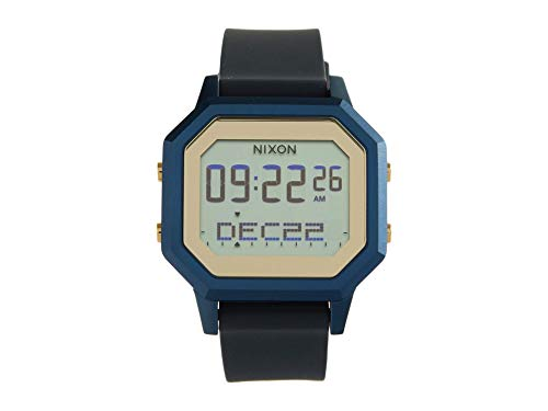 NIXON Siren SS A1211 - Navy/Gold - 100m Water Resistant Women's Digital Sport Watch (36mm Watch Face, 18mm-16mm Silicone Band)
