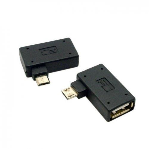 cablecc, adattatore host OTG micro USB 2.0 OTG ad angolo retto sinistro e destro, con alimentazione USB, per telefoni cellulari e tablet, 2 pezzi