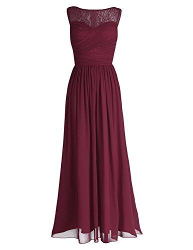 iEFiEL Damen Abendkleider elegant Hochzeitskleid Cocktailkleid Chiffon Festlich Festkleid Langes Brautjungfernkleid 34-46 Weinrot 34