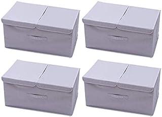 MU Grande boîte de rangement pour vêtements, boîte de rangement pliable à double couvercle, boîte de rangement multifoncti...