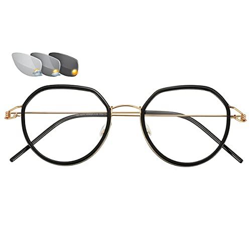 HAOXUAN Gafas de Lectura fotocromáticas, Montura de Gafas de Metal Ultraligera de Moda, diseño sin Tornillos, lectores de Sol HD Unisex, dioptrías +1,00 a +3,00,Negro,+3.00
