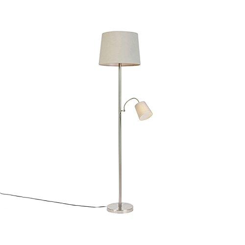 QAZQA Klassisch/Antik Klassische Stehleuchte/Stehlampe/Standleuchte/Lampe/Leuchte Stahl/Silber/nickel matt mit grauem Lampenschirm und Leselicht - Retro/Innenbeleuchtung/Wohnzimmerla