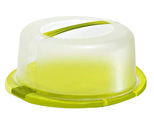 Rotho Cool & Fresh Tortenglocke mit Kühlung, Haube und Tragegriff, Kunststoff (PP) BPA-frei, grün/transparent, (38,0 x 34,0 x 16,0 cm)