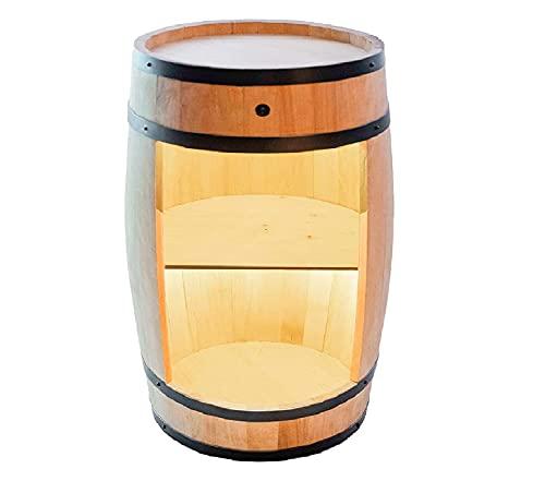 weeco Minibar Schränk LED Rustikal Bartisch mit Holz 82cm Fass Vintage deko Hausbar Gin Whisky Bier - Weinfass Stehtisch Holzfass für Gläser und Flaschen - Wine Rack Geschenk für Mann Weinschrank