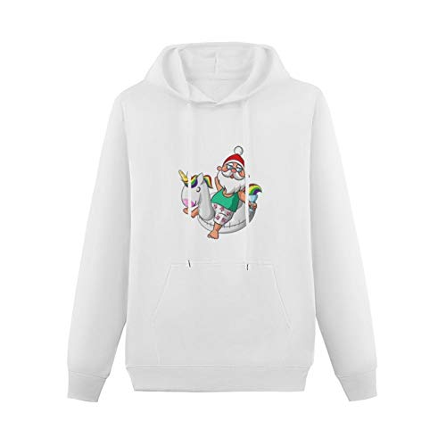 Santa Claus on Inflatable Unicorn Swim Boat Pullover Hoodie Teens Clothes Youth Hooded Sweatshirt