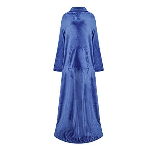 HAOXIANG Elegante Manta De Poncho Sherpa, 250 G / M2, Lujosa Y Acogedora Manta Súper Suave para Llevar con Mangas Extragrandes Y Bolsillo para Cubrir En Interiores O Exteriores,Azul