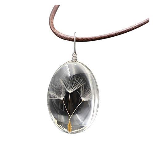 WAZG SYBLD Collar Colgante de Bola de Cristal de Diente de león (Metal Color : Solid Crystal circul)