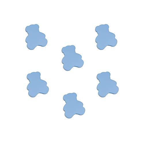 6 Un. TIRADOR Pomo Mueble BEBÉ OSO madera lacada azul celeste 63X54mm