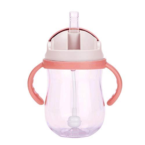DELITLS Tazas de paja para niños pequeños a prueba de derrames, taza de silicona con asas para niño, botella a prueba de fugas, 10 onzas (rosa)