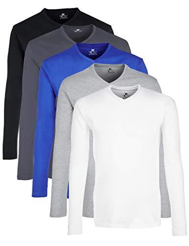 Lower East Herren Langarmshirt mit V-Ausschnitt, 5er Pack, Mehrfarbig (Weiß/ Grau Melange/ Olympia Blue/ Folkstone Grey/ Schwarz), XXL