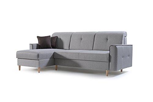 mb-moebel Ecksofa Sofa Eckcouch Couch mit Schlaffunktion und Bettkasten Ottomane L-Form Schlafsofa Bettsofa Polstergarnitur MIKA (Braun, Ecksofa Links)