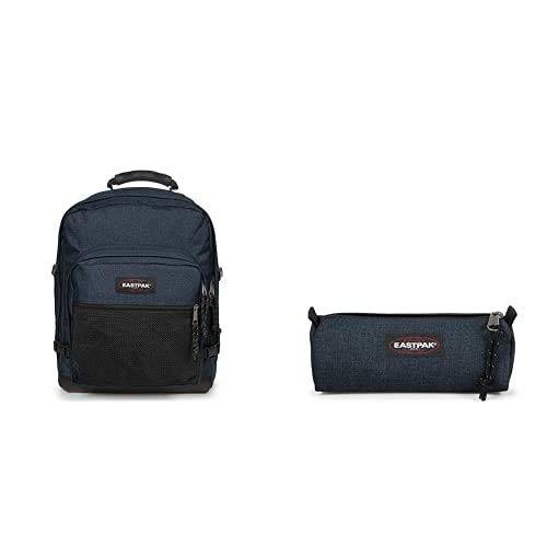 Eastpak Ultimate Zaino, 42 cm, 42 L, Blu (Triple Denim) + Benchmark Single Astuccio, 21 cm, Blu (Triple Denim)