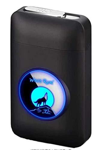 Pitillera con mechero, con LED gráficos, 2 en 1, portátil, electrónico, recargable, sin llama, elegante, diseño recargable, color azul y negro