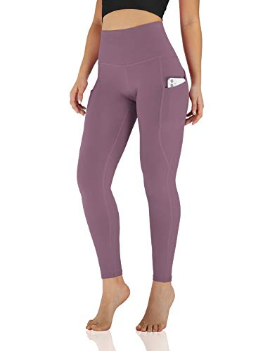ODODOS Women's High Waisted Yoga Leggings with Pocket, Workout Sports Running Athletic Leggings with Pocket, Full-Length, Lavender,X-Small