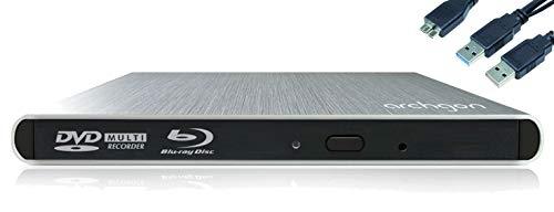 Archgon Style Externer HD BD Player, Blu-ray BDXL Brenner extern für PC Laptop USB 3.0, M-Disc, externes BluRay Laufwerk, External Optical BlueRay Drive extern, Alu Silber