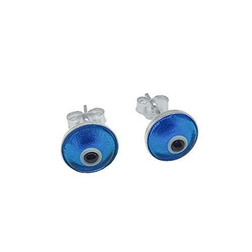 MYSTIC JEWELS By Dalia - Pendientes Mal de Ojo turco pequeño en cristal - Plata de Ley 925 (Azul Claro)