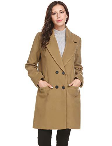 UNibelle Damen Zweireihiger Mantel Langjacke Trenchcoat Übergangsjacke Trench Coat Wintermantel Mit Tasche Kamel M