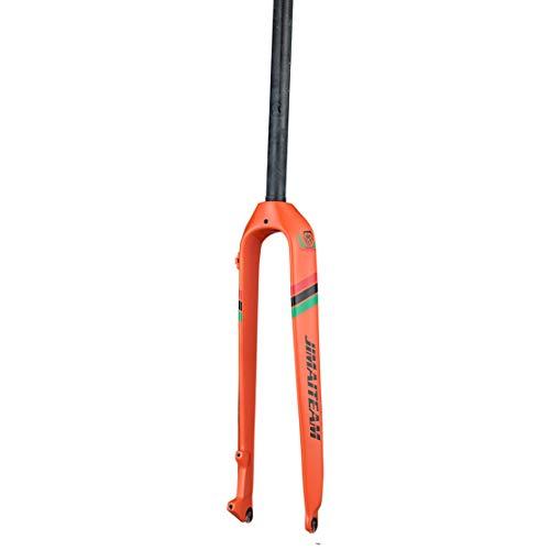 HIOD Completo Fibra de Carbon Bicicleta de Montaña Bici de Carretera Horquillas Derecho Tubo 300 * 28.6 mm Rígido Freno de Disco Horquilla,Orange,29