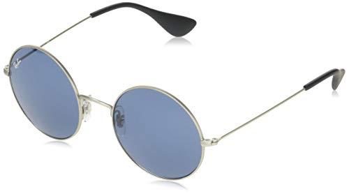 Ray-Ban RB3592 Ja-Jo Round Sunglasses, Rubber Silver/Dark Blue, 55 mm