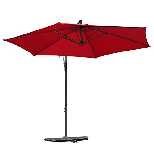 SQL Paraguas Parasol al Aire Libre Paraguas al Aire Libre Paraguas Paraguas Soporte Redondo Ventilador Grande Sol Patio sientry Caja de Seguridad Paraguas (Color : Wine Red)