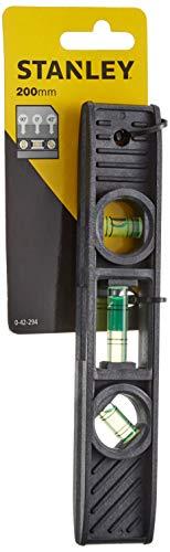 Stanley Torpedo-Wasserwaage (ABS-Kunststoff, je 1x horizontale/vertikale/45° Libelle, mit Aufhängauge) 0-42-294
