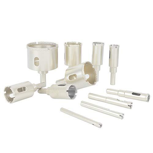 WanRomJun 11PCs Silver Diamond Drill Bit Set Electrical Tools DIY Enthusiast Gifts 6-50mm For Marble/Granite Drill Bit