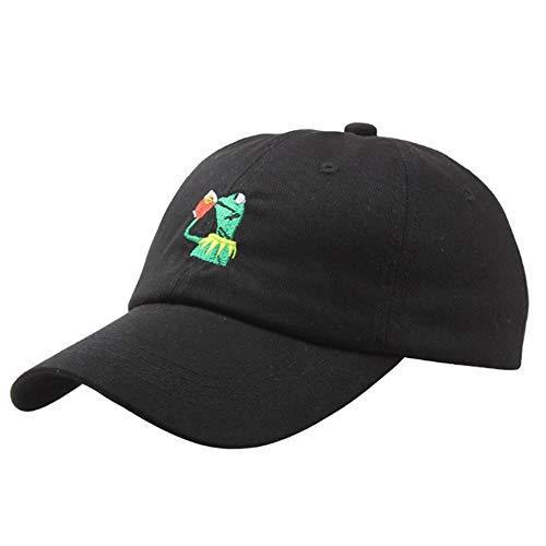 Baseball Cap The Frog Dad Hat Cap Sipping Sips Drinking Tea Champion Costume Embroidered Cotton Adjustable Hat (Black)