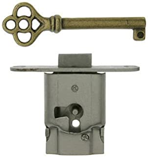 Full Mortise Cabinet Door or Drawer Lock w/Plate and Skeleton Key - Antique Furniture Hardware | S-15S