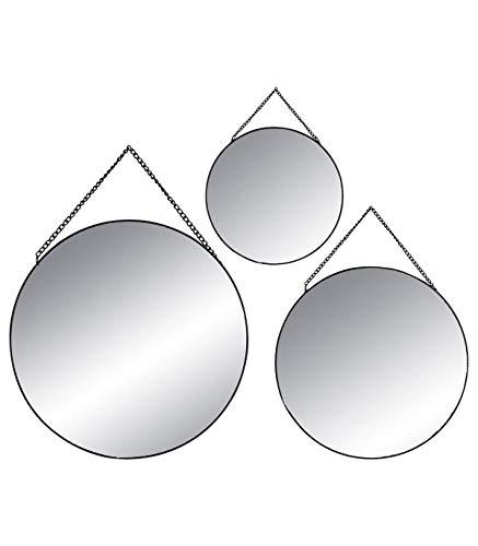 Atmosphera Lot de 3 miroirs Ronds - Noir