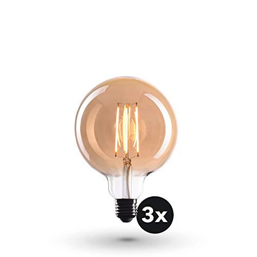 3x Bombilla Edison Crown LED base E27 | Regulable, 4W, 2200 K, luz cálida, EL05 | EL GLOBO GIGANTE | Etiqueta Energética de la Unión Europea: A+
