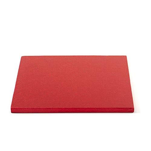 Decora 0931855 Carton pour GÂTEAU CARRÉ Rouge 35X35X1,2H, Paper, Red, 35 x 35 x 1,2 cm