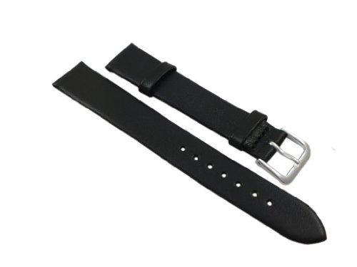14mm Weiches Kalbsleder Uhrenarmband Schwarz Silberfarbende Dornschließe inkl. Myledershop Montageanleitung