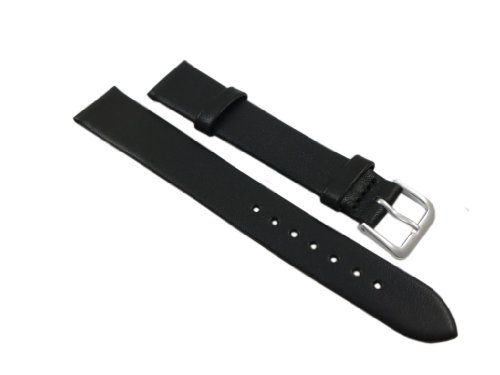 16mm Weiches Kalbsleder Uhrenarmband Schwarz Silberfarbende Dornschließe inkl. Myledershop Montageanleitung