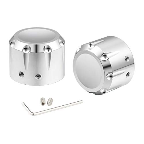 PBYMT Chrome Front Axle Nut Cover Cap Compatible for Harley Softail Electra Road Street Glide Sportster 2002-2020