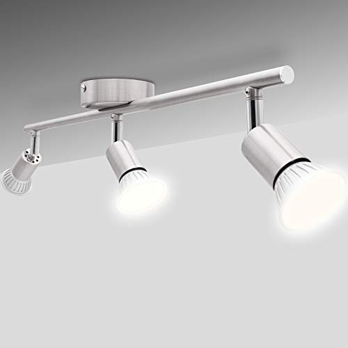 National Electronics Deckenstrahler 3-Flammig GU10 3,5W 250 Lumen SMD LED Deckenlampe AC 230V 120° Deckenleuchte warmweiß