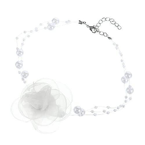 ABOOFAN Collar de Cadena de Clavícula de Flor de Hilo de Perla de Estilo Retro